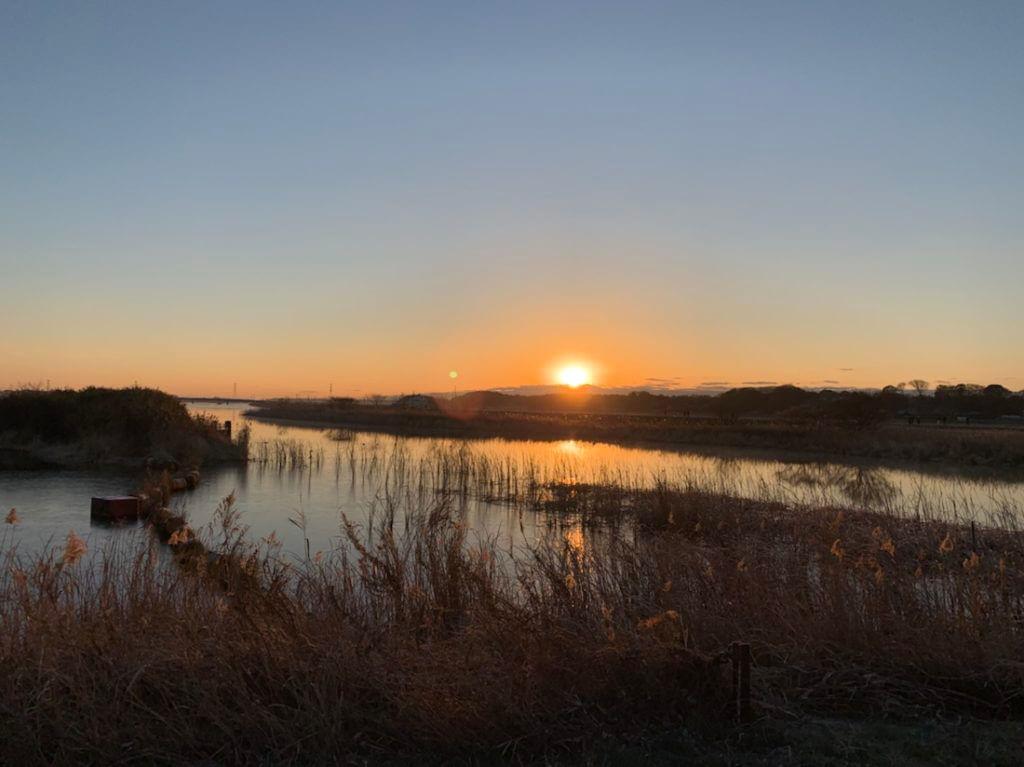 手賀沼から初日の出。あけましておめでとうございます